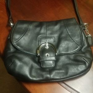 Coach black leather mini bag